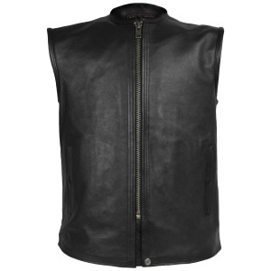 High Mileage HMM932 Mens Black Premium Cowhide Front Center Zipper Biker Motorcycle Leather Vest