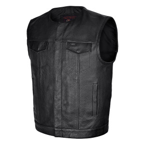 Vance VL919 Men's Black Premium Cowhide Leather Biker Motorcycle Vest With Quick Access Conceal Carry Pockets