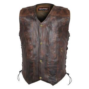 High Mileage Men's Vintage Brown 10 Pocket Vest - front