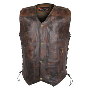 High Mileage HMM915VB Mens Vintage Brown Premium Cowhide Ten Pocket Leather Motorcycle Vest - front
