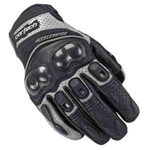 Cortech Accelerator Series3 Mens Leather Motorcycle Gloves - Silver