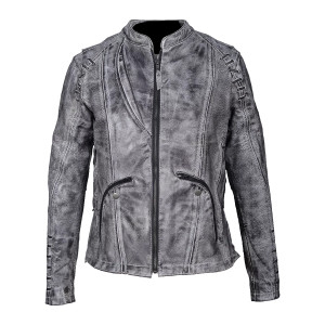 High Mileage HML638WB Women's Lace and Grommet Detail Acid Wash Gray Goat Skin Leather Lady Biker Motorcycle Fashion Jacket
