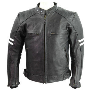 Men's Striped Leather Motorcycle Jacket