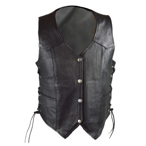 Vance VL1040 Womens Black Lady Biker Leather Motorcycle Vest