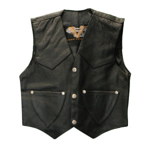 Kids Plain Side Leather Vest