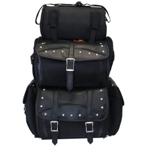 Vance VS347 Black Extra Large Studded 2-Piece Motorcycle Travel Touring Sissy Bar Bag