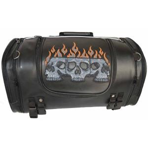 Vance VS366 Black Embroidered Reflective Skull Design Motorcycle Luggage Travel Sissy Bar Roll Trunk Bag - Orange