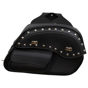 Vance VS230S Black Studded Motorcycle Saddlebags for Honda Yamaha Kawasaki Indian and Harley Davidson Motorcycles