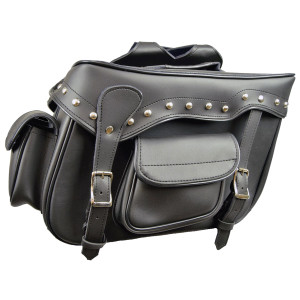 Black Studded Saddle Bag With 2 Outside Pockets