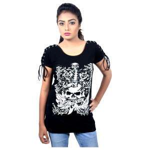Vance Womens Do or Die Tank Top with Laced Shoulder