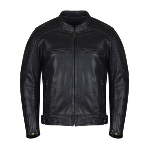 High Mileage HMM538 Mens Dual Conceal Carry Vented Sport Style Cowhide Leather Biker Motorcycle Riding Jacket - Front View