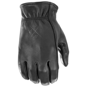 Highway 21 Louie Leather Motorcycle Gloves - Black
