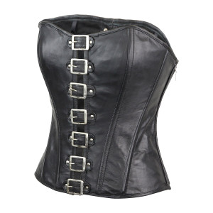 Ladies Premium Lambskin Buckle Front Studded Leather Corset
