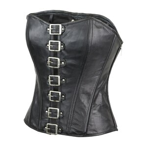 Womens Black Premium Soft Lambskin Buckle Front Studded Leather Halter Top Corset