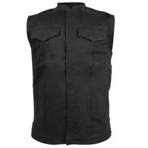 Vance VL1914 Mens Black Front Zipper and Snap Closure SOA Club Style Textile Motorcycle Vest