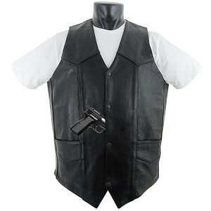 Tall Size Basic Concealed Carry Biker Leather Vest-Front View