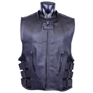 Jafrum MV119 SWAT Team Bulletproof Style Motorcycle Leather Vest
