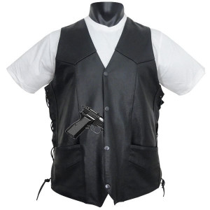 Tall Size Concealed Carry Classic Biker Leather Vest-Front View