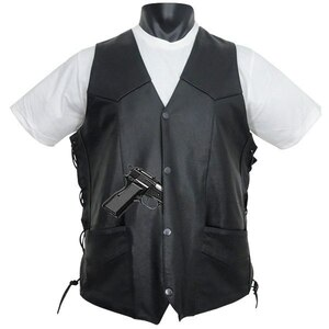Vance MV103 Tall Size Men's Concealed Carry Lace Side Biker Motorcycle Leather Vest - Front View