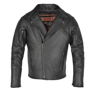 High Mileage HMM517L Men's Dual Conceal Carry Premium Lightweight Goatskin Leather Motorcycle Biker Jacket