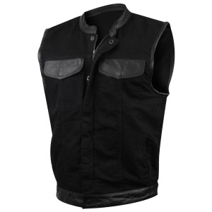 Vance MV116 Mens Black SOA Club Style Zipper and Snap Closure Denim Motorcycle Vest With Leather Trim