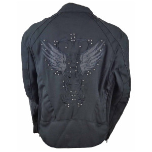 Vance VL1582B Women's Embroidered Reflective Black Wings Textile Lady Biker Motorcycle Riding Jacket