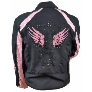 Vance VL1582P Women's Embroidered Reflective Pink Wings Textile Lady Biker Motorcycle Riding Jacket