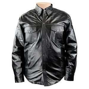 Detour 8019 Mens Black Cowhide Biker Motorcycle Leather Shirt