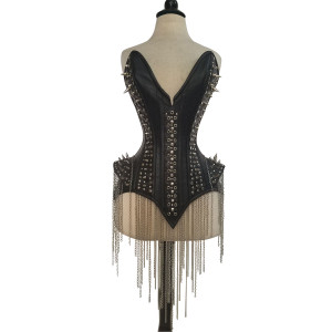 Ladies Studs and Spikes Leather Corset