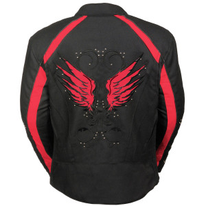Vance LJ1582Red Women's Embroidered Reflective Red Wings Textile Lady Biker Motorcycle Riding Jacket - Back View
