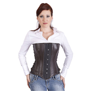 Ladies Black Leather Corset With Side Lace