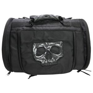 Vance VS381SK Black Nylon Embroidered Reflective Skull Design Motorcycle Trunk Bag