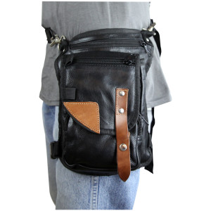 Brown Concealed Carry Leather Trim Thigh Bag