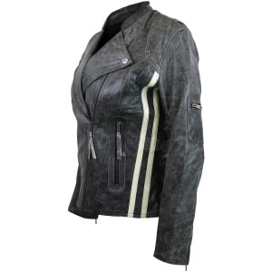 High Mileage HML635DG Women's Vintage Distressed Gray With White Stripes Lady Biker Leather Motorcycle Riding Jacket