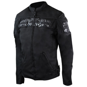 Womens Black Embroidered Reflective Skull CE Armored Textile Biker Motorcycle Jacket