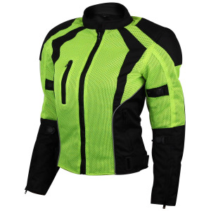 Advance Vance VL1673HG Womens High Visibility Neon All Weather Season CE Armor Mesh Motorcycle Riding Jacket