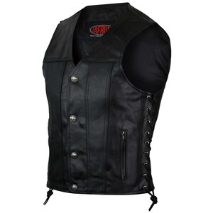 Vance VL939S Mens Black Straight Bottom Leather Motorcycle Vest
