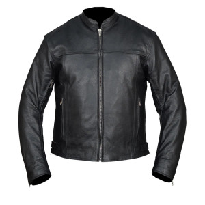 High Mileage Men's Black Vented Premium Leather Scooter Jacket