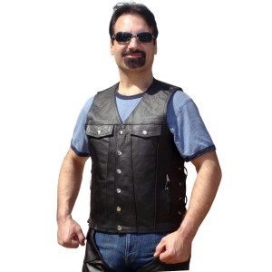 Jean Style Leather Motorcycle Vest