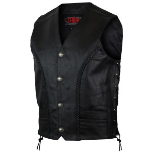 Mens Braided Side Lace Buffalo Snaps Leather Vest