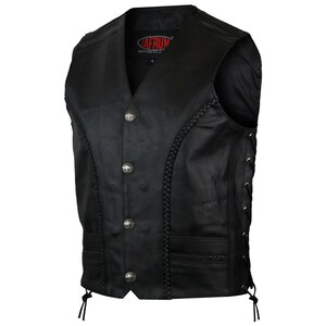 Vance MV112 Mens Black Straight Bottom Buffalo Nickel Snaps Motorcycle Leather Vest