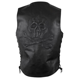 Mens Skull and Bones Side Lace Leather Vest-Back View