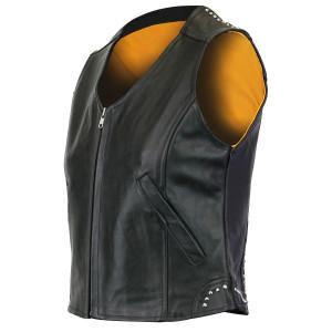 Jafrum LV6008 Women's Black Studded Lady Biker Motorcycle Leather Vest