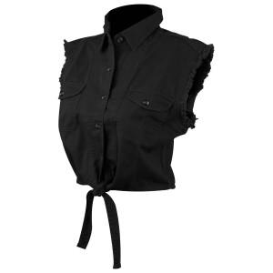 Ladies Denim Cutoff Shirt with Tie Down-Black