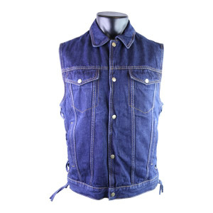 Detour 8207 Men's Blue Denim Jean Biker Motorcycle Vest