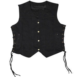 KV742 Kids Childrens Boys Girls Biker Motorcycle Style Black or Blue Denim Vest - Black