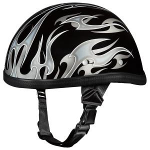 Daytona Novelty Eagle With Flames Silver Half Helmet