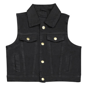 Kids Jean Style Denim Vest-Black