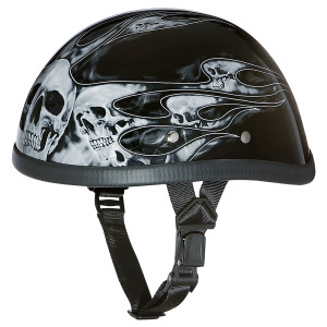 Daytona Novelty Eagle With Skull Flames Silver Helmet