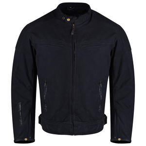 Mens Black Waxed Cotton Cafe Style Scooter Motorcycle Jacket With CE Armor